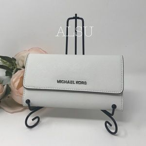 Michael Kors Tri Folder Wallet Large Optic White W